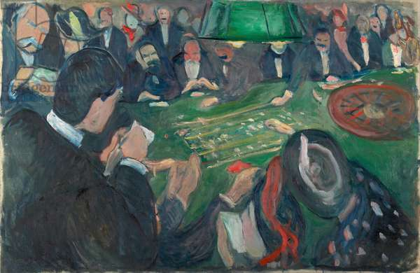 At the Roulette Table in Monte Carlo par Munch, Edvard (1863-1944). Oil on canvas, size : 74x116, 1892, Munch Museum, Oslo
