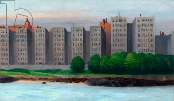 """""""""""Apartment Houses, East River, New York"""" c.1930 (oil on canvas)"""