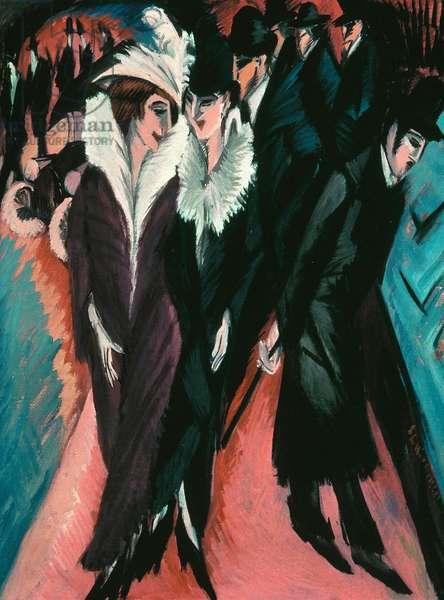 Rue, Berlin - Street, Berlin - Peinture de Ernst Ludwig Kirchner (1880-1938) - 1913 - Oil on canvas - 120,6x91,1 - Museum of Modern Art, New York -