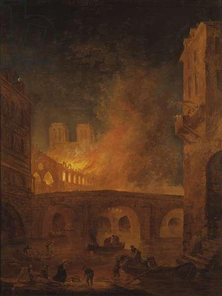 The Fire of Hotel-Dieu in Paris, by Robert, Hubert (1733-1808)