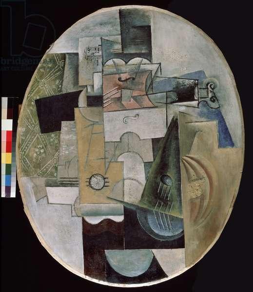 Musical instruments, 1912 (oil, sawdust, gypsum on oilcloth)