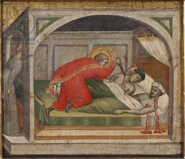 Julien l'hospitalier tue ses parents - Saint Julian Having Killed His Parents, by Spinello, Aretino (c. 1350-1410). Oil on wood. Dimension : 34x39 cm. Nationalmuseum Stockholm