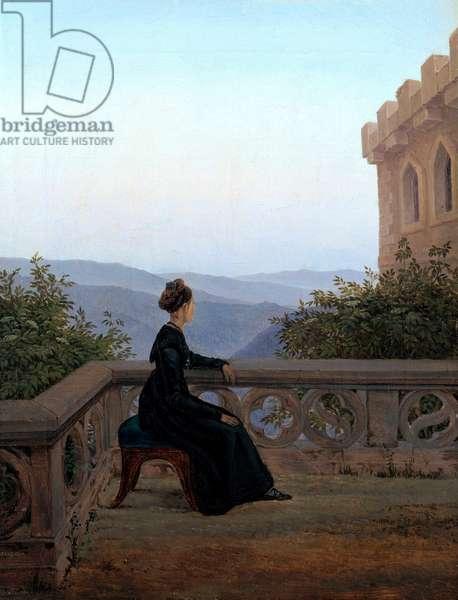 """""Portrait de femme sur une terrasse"""" ( Woman on the Balcony) Peinture de Carl Gustav Carus (1789-1869) Oil on canvas 1824 Dim 42x32 cm State Art Gallery, Dresde"