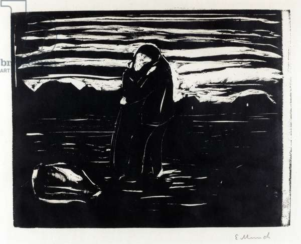 """""Le baiser dans les champs"""" (Kiss in the Field) Gravure d' Edvard Munch (1863-1944), 1905 Dim 20,9x26,6 cm Private Collection"