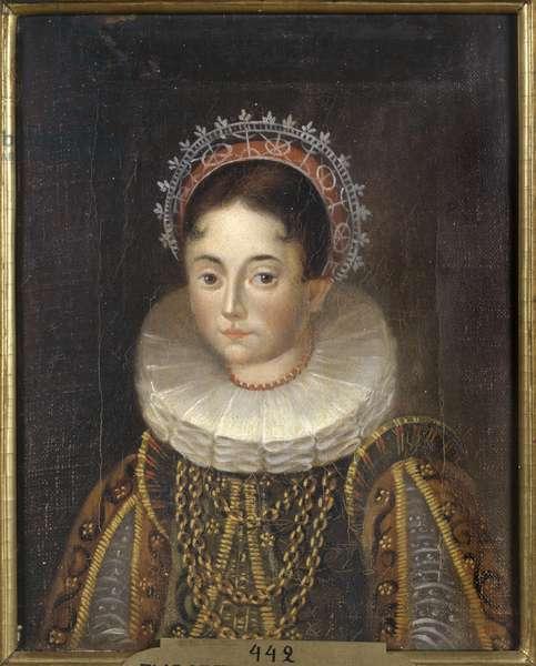 Princesse Elisabeth de Suede, duchesse consort de Mecklembourg Gadebusch - Portrait of Princess Elizabeth of Sweden (1549-1597), Duchess of Mecklenburg, Anonymous . Oil on canvas. Dimension : 28x22 cm. Nationalmuseum Stockholm
