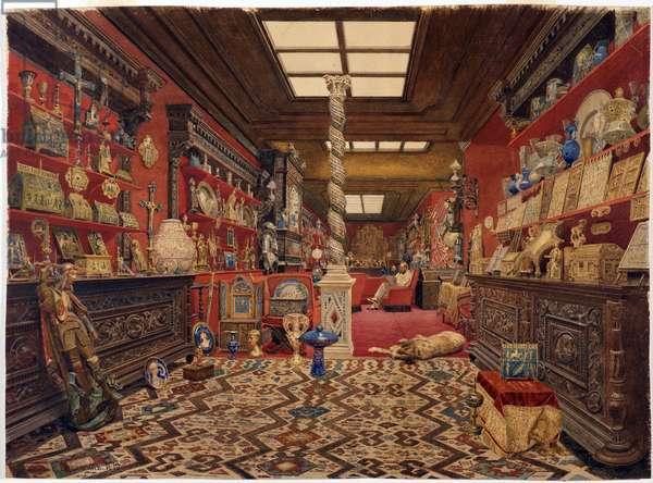 Alexandre Basilewsky - The Gallery of Alexander Basilewsky residence in Paris par Vereshchagin, Vasili Vasilyevich (1842-1904), 1870 - Watercolour on cardboard - State Hermitage, St. Petersburg