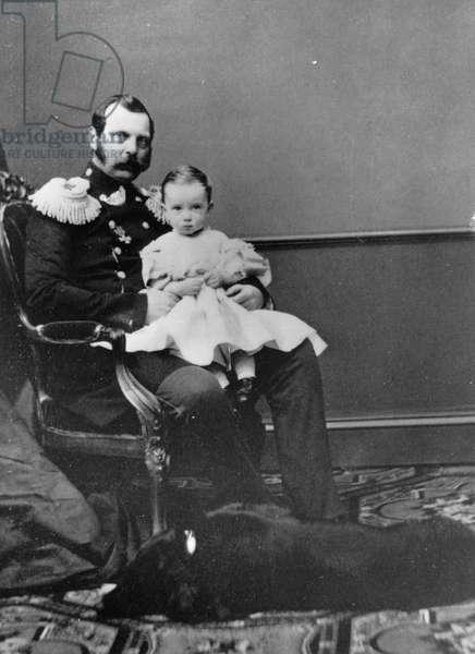 Portrait of Emperor Alexander II of Russia (Alexandre II, Alexandre Nikolaievitch Romanov, Alexander II Nikolaevich) (1818-1881) with son, Grand Duke Paul Alexandrovitch of Russia (Pavel Alexandrovitch Romanov) (1860-1919)