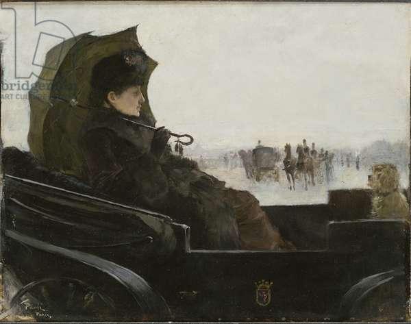 Femme dans une caleche, Paris - Lady in a landau carriage, Paris, by Pauli, Georg (1855-1935). Oil on wood, 1882-1883. Dimension : 31x39,5 cm. Nationalmuseum Stockholm