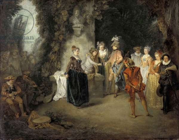 The French Comedy par Watteau, Jean Antoine (1684-1721), after 1716 - Oil on canvas, 37x48 - Staatliche Museen, Berlin