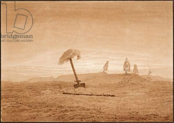 """""""""""Paysage de tombes"""""""" (Landscape with Graves) Dessin de Caspar David Friedrich (1774-1840) vers 1836 Dim 23,8x28,6 cm Albertina, Vienne"""