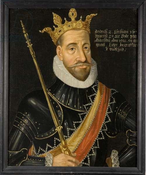 Le roi Frederic II de Danemark et Norvege - King Frederick II of Denmark (1534-1588), Anonymous . Oil on canvas. Dimension : 74x64 cm. Nationalmuseum Stockholm