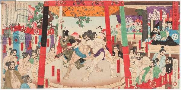 Combat de sumo devant Toyotomi Hideyoshi 1537-1598) et Kato Kiyomasa (1562-1611). Estampe de Utagawa Toyono bu (1859-1886), 1884 - Sumo performed before Hideyoshi and Kato Kiyemasa, by Toyonobu, Utagawa (1859-1886). Colour woodcut, 1884. Dimension : 35,5x72 cm. Private Collection