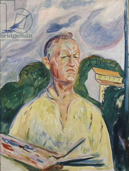 """""Autoportrait a la palette"""" (Self-portrait with Palette) Peinture d'Edvard Munch (1863-1944) 1926 Collection privee"