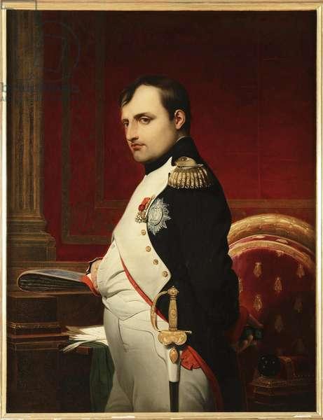 Napoleon I in his study in 1807, by Delaroche, Paul Hippolyte (1797-1856). Oil on canvas, 1837. Dimension : 116x88 cm. Private Collection