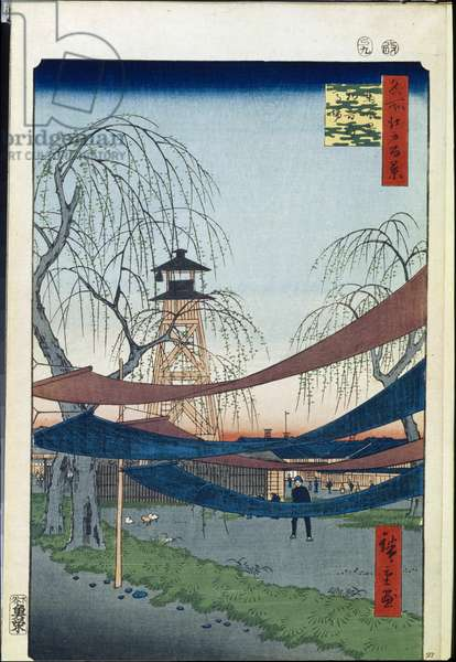 Cent vues celebres d'Edo : Hatsune Riding Ground in Bakuro-cho (One Hundred Famous Views of Edo) - Hiroshige, Utagawa (1797-1858) - 1856-1858 - Colour woodcut - State Hermitage, St. Petersburg