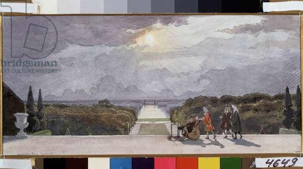 King's walk. Watercolour, Gouache on Paper by  Benois, Alexander Nikolayevich(1870-1960), 1897