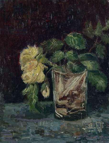Glass with Yellow Roses (verre avec roses jaunes) par Gogh, Vincent, van (1853-1890). Oil on cardboard, size : 35x27, 1886, Van Gogh Museum, Amsterdam