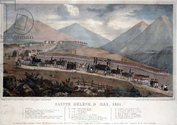 Saint Helena, 9th May 1821 - Anonymous - 1839 - Colour lithograph - 59,9x84 - Private Collection
