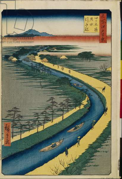 Cent vues celebres d'Edo : Towboats on the Yotsugi dori Canal (One Hundred Famous Views of Edo) - Hiroshige, Utagawa (1797-1858) - 1856-1858 - Colour woodcut - State Hermitage, St. Petersburg