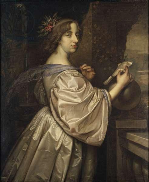 La reine Christine de Suede - Portrait of Queen Christina of Sweden (1626-1689), by Beck, David (1621-1656). Oil on canvas, 1650. Dimension : 110x92 cm. Nationalmuseum Stockholm