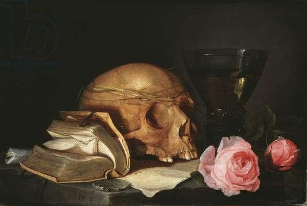 Vanite, nature morte avec un crane, un livre et des roses - Vanitas Still Life with a Skull, a Book and Roses, by Heem, Jan Davidsz. de (1606-1684). Oil on canvas, c.1630. Dimension : 23,2x34,6 cm. Nationalmuseum Stockholm