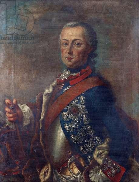 Frederic II de Prusse, dit Frederic le Grand  - Portrait of Frederick II of Prussia (1712-1786) par Pieter Frederik De la Croix (1709-1782), - Oil on canvas, 51x39 - Private Collection
