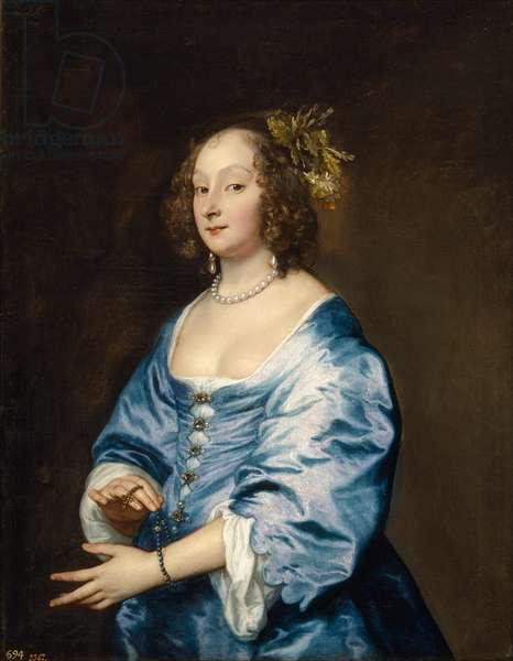 """""""""""Portrait de Mary Ruthven epouse de l'artiste"""""""" (Portrait of Mary (nee Ruthven), Lady van Dyck) Peinture de Anthony (Antoine) van Dyck (1599-1641) vers 1639 Dim 104x81 cm Museo del Prado, Madrid"""