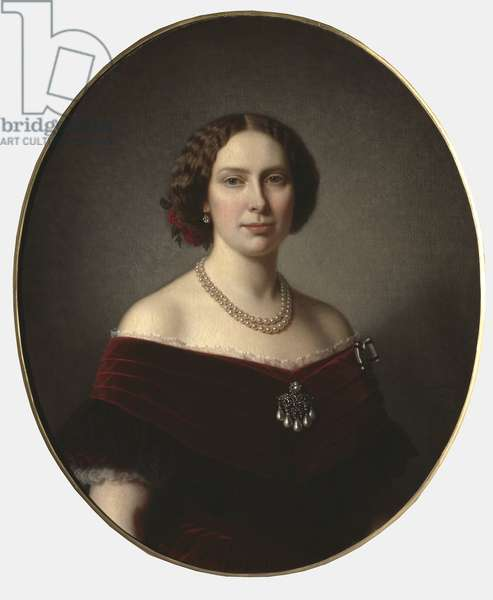Louise des Pays Bas, reine de Suede et Norvege - Portrait of Louise of the Netherlands (1828-1871), Queen of Sweden and Norway, by Lindegren, Amalia (1814-1891). Oil on canvas. Dimension : 85x73 cm. Nationalmuseum Stockholm