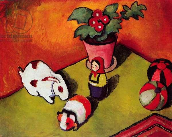 """""""""""Les jouets du petit Walter"""""""" (Little Walter's Toys) Peinture d'August Macke (1887-1914) 1912 Dim 50x60 cm Staedtische Galerie im Staedelschen Kunstinstitut, Frankfurt am Main"""