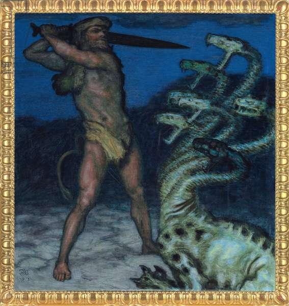 Hercules and Hydra - Peinture de Franz Ritter von Stuck (1863-1928) - 1915 - Syntonos colours on canvas - Museum Villa Stuck