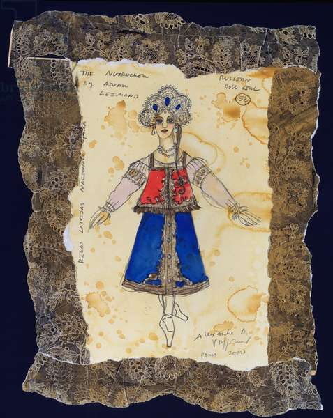Costume design for the Russian doll from Tchaikovsky's ballet 'The Nutcracker', 2000 (w/c & gouache on paper)