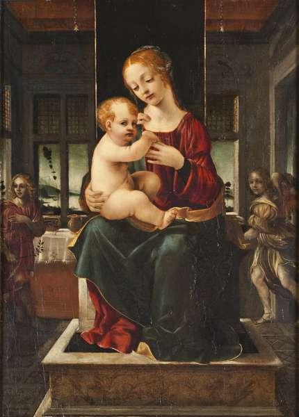 La Vierge et l'enfant avec deux anges - The Virgin and Child with Two Angels, by Napoletano, Francesco (c. 1470-1501). Oil on wood, Late 15th cen.. Dimension : 68x50 cm. Nationalmuseum Stockholm