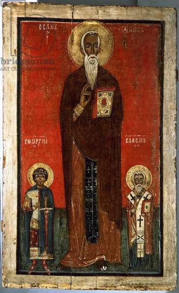 saint Jean Climaque avec saint George et saint Blaise Icone russe 13eme siecle State russian museum Saint Petersbourg