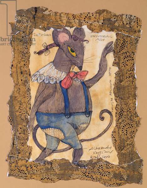 Costume design for the mouse in check, from Tchaikovsky's ballet 'The Nutcracker', 2000 (w/c & gouache on paper)