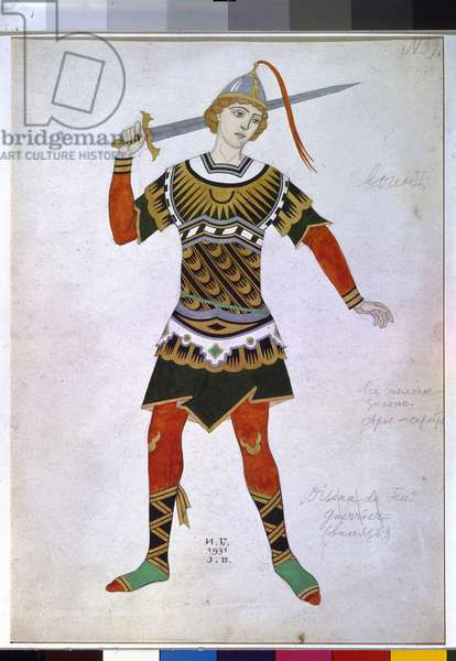 Costume design for a warrior from the ballet 'Firebird' by I. Stravinsky, 1931 (w/c on paper)