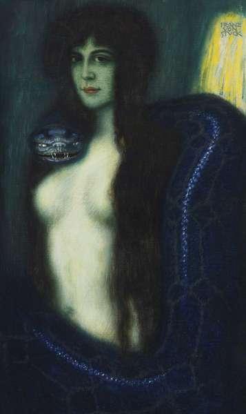 Le peche - The Sin par Stuck, Franz, Ritter von (1863-1928). Oil on canvas, size : 90,2x53,3, , Private Collection