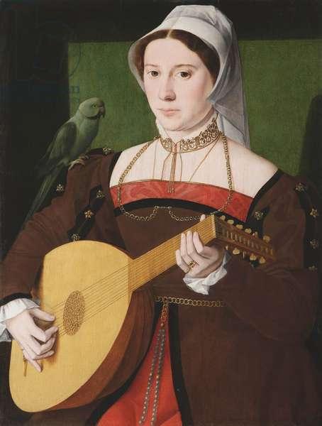 """""""""""Portrait de femme jouant du luth avec perroquet sur son epaule"""""""" (Portrait of a woman playing a lute, with a parrot on her shoulder) Peinture anonyme vers 1540 Oil on wood, 70x55 - Fondation Custodia"""
