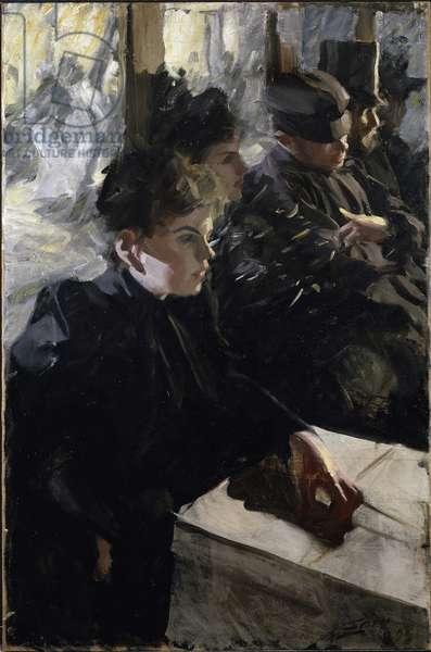 Omnibus par Zorn, Anders Leonard (1860-1920). Oil on canvas, size : 99,5x66, 1891-1892, Nationalmuseum Stockholm