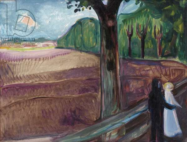 """""Nuit d'ete"""" (Summer Night) (Sommernatt) Peinture d'Edvard Munch (1863-1944), 1917 - Oil on canvas, 74,3x98,6 - Private Collection"