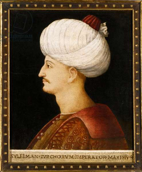 """Portrait de Soliman (Suleyman) Ier le Magnifique (1494-1566), sultan Ottoman"""""""" Peinture anonyme - Sultan Suleiman I the Magnificent par Bellini, Gentile, (Follower of), c. 1520 - Oil on wood, 32,5x28 - Private Collection"""