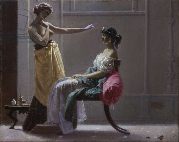 Venus prete sa ceinture a Junon - Venus fastens the girdle for Juno, by Appiani, Andrea (1754-1817). Oil on canvas. Dimension : 102x147 cm. Private Collection