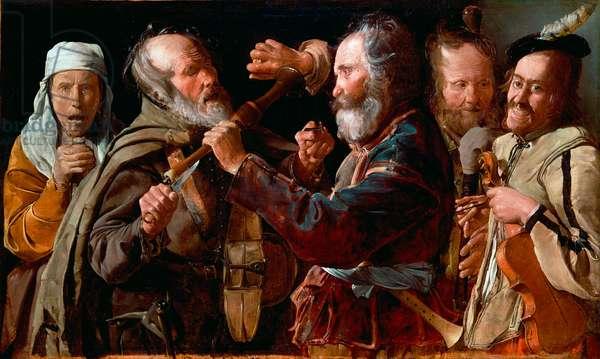 """""""""""La querelle de musiciens"""""""" (The Musicians' Brawl) Peinture de Georges de La Tour (1583-1652) vers 1625-1630 - Oil on canvas Dim 85,7x141 cm J Paul Getty Museum, Los Angeles"""
