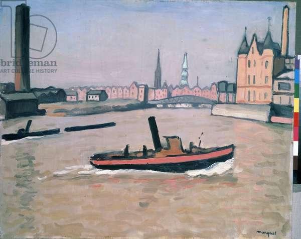 The Port of Hamburg 1909 (oil on canvas)