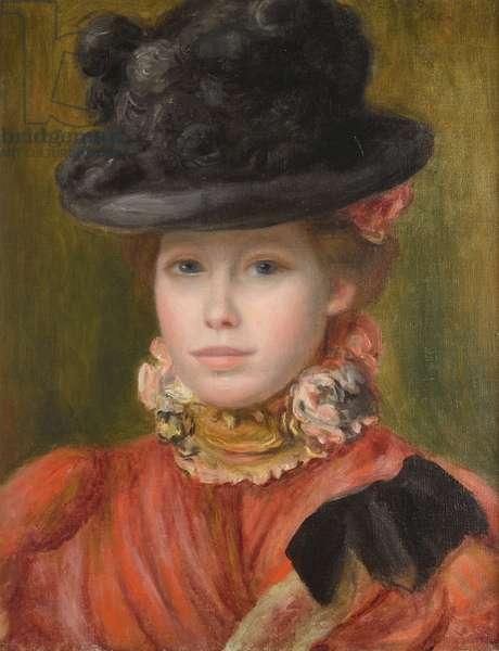 Jeune fille au chapeau noir et fleur rouge - Girl in black hat with red flowers par Renoir, Pierre Auguste (1841-1919), c. 1890 - Oil on canvas - Private Collection