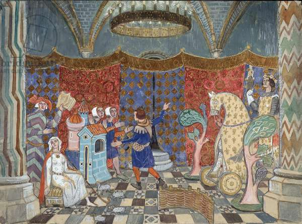 """Stage design for the play """"Le Jeu de Robin et de Marion"""" by Adam de la Halle, 1907 (w/c & gouache on card)"""
