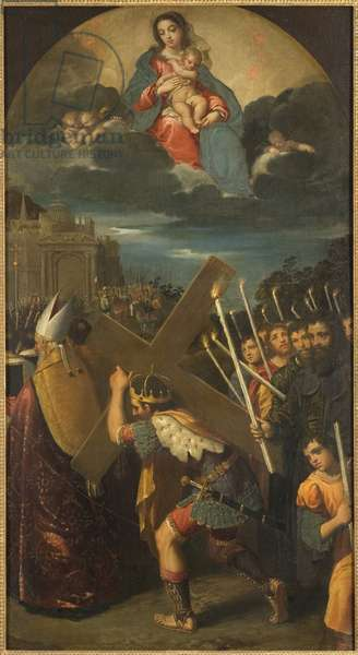 Heraclius I (vers 575-641) rapporte la Vraie Croix a Jerusalem - Emperor Heraclius returns the True Cross to Jerusalem, by Scarsellino (Scarsella), Ippolito (1551-1620). Oil on canvas. Dimension : 181x101 cm. Nationalmuseum Stockholm