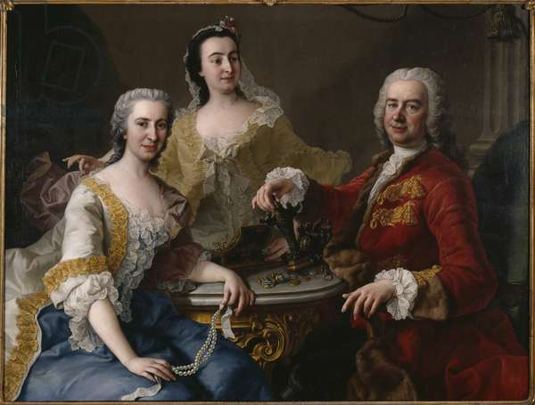 Joseph Angelo de France (1691-1761) with Family, by Mijtens (Meytens), Martin van, the Younger (1695-1770). Oil on canvas, 1748. Dimension : 118x155 cm. Nationalmuseum Stockholm