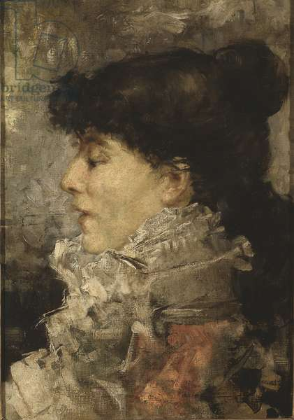Portrait of Sarah Bernhardt (1844-1923), by Bastien Lepage, Jules (1848-1884). Oil on canvas, 1870s. Dimension : 47x33 cm. Nationalmuseum Stockholm