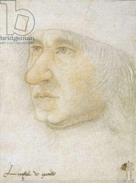 Portrait of Louis Malet de Graville (1438-1516), Admiral of France par Bourdichon, Jean (1457-1521). Black chalk and sanguine on paper, size : 16,9x12,7, Late 15th cen., State Hermitage, St. Petersburg
