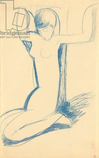Kneeling Blue Caryatid (Anna Akhmatova, 1889-1966) - Dessin de Amedeo Modigliani (1884-1920), c. 1911 - Blue crayon, 43x26,5 - Private Collection